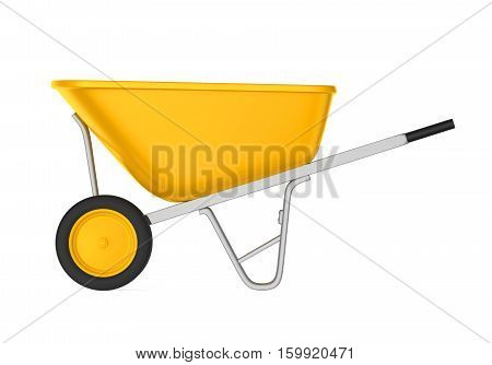 Yellow Wheelbarrow isolated on white background. 3D render
