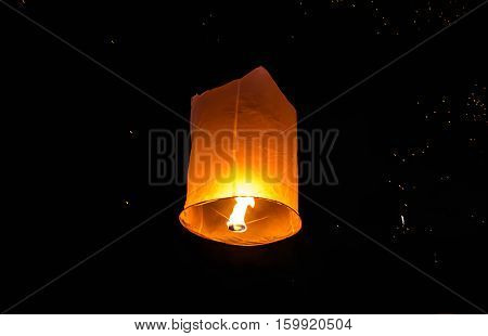 Floating lanterns ceremony or Yee Peng ceremony, traditional Lanna Buddhist ceremony in Chiang Mai, Thailand