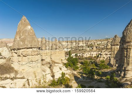 Fairy tale chimneys in Love Valley near Goreme, Cappadocia, Turkey