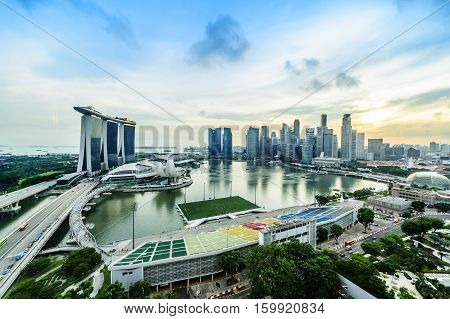 SINGAPORE - NOV 22 2016: The Marina Bay Sands Resort Hotel on Nov 22 2016 in Singapore. It is an integrated resort and the world's most expensive standalone casino property at S$8 billion.