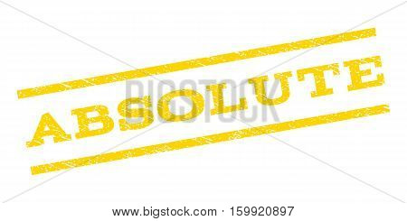 Absolute watermark stamp. Text caption between parallel lines with grunge design style. Rubber seal stamp with scratched texture. Vector yellow color ink imprint on a white background.