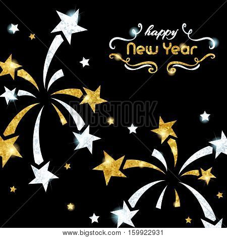 Elegant black new year's eve background with gold and silver fireworks design. Graphics are grouped and in several layers for easy editing. The file can be scaled to any size.