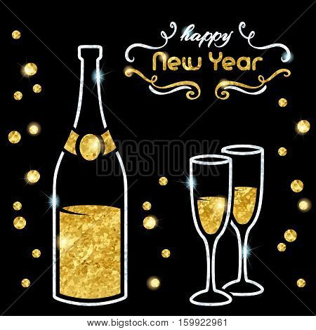 Elegant black new year's eve background with gold and silver champagne design. Graphics are grouped and in several layers for easy editing. The file can be scaled to any size.