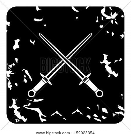 Two combat sword icon. Grunge illustration of two combat sword vector icon for web