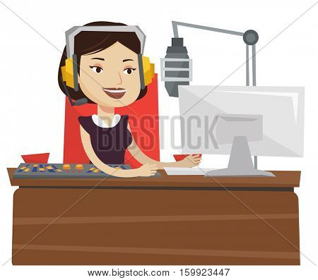 Female radio dj working in front of microphone, computer and mixing console on radio. Radio dj in headset working on a radio station. Vector flat design illustration isolated on white background.