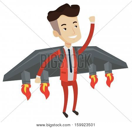 Happy businessman flying on the business start up rocket. Caucasian businessman flying with a jet backpack. Business start up concept. Vector flat design illustration isolated on white background.