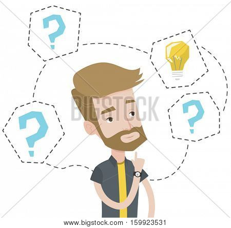 Caucasian hipster man having business idea. Businessman standing with question marks and light bulb above his head. Business idea concept. Vector flat design illustration isolated on white background.