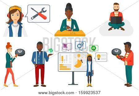 Smiling woman controlling robot vacuum cleaner with her smartphone. Young woman holding remote control of robotic vacuum cleaner. Set of vector flat design illustrations isolated on white background.