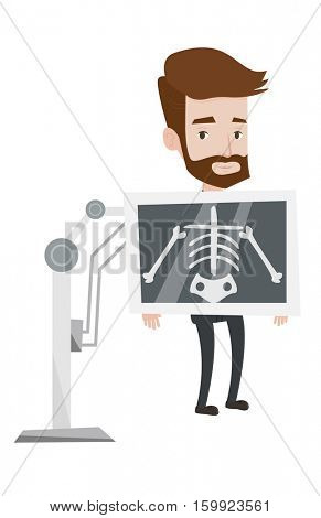 Young hipster patient during chest x ray procedure. Young man with x ray screen showing his skeleton. Patient visiting roentgenologist. Vector flat design illustration isolated on white background.