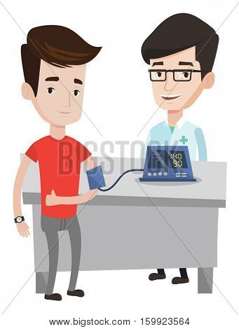 Caucasain man checking blood pressure with digital blood pressure meter. Man giving thumb up while doctor measuring his blood pressure. Vector flat design illustration isolated on white background.
