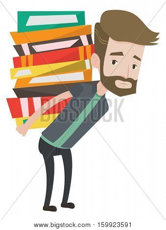 Hipster student carrying heavy pile of books on his back. Upset student walking with huge stack of books. Student holding pile of books. Vector flat design illustration isolated on white background.