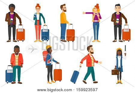 Man frightened by future flight on airplane. Man with suitcase holding passport with airplane ticket. Woman waiting for a flight. Set of vector flat design illustrations isolated on white background.