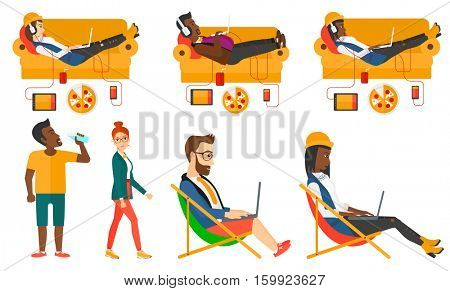 Man with belly relaxing on a sofa with many gadgets. Fat man lying on a sofa surrounded by gadgets. Woman using gadgets at home. Set of vector flat design illustrations isolated on white background.