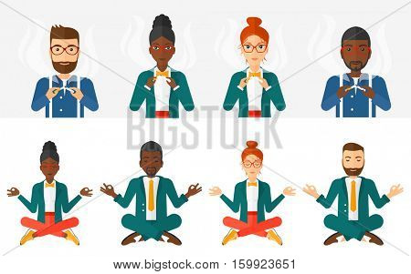 Man breaking the cigarette. Man crushing cigarette. Man holding broken cigarette. Quit smoking concept. Businessman doing yoga. Set of vector flat design illustrations isolated on white background.