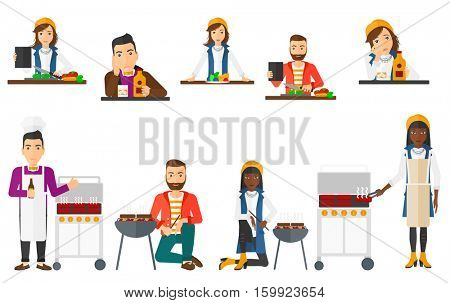 Man cutting vegetables for salad. Man following recipe for salad on digital tablet. Man cooking fresh healthy vegetable salad. Set of vector flat design illustrations isolated on white background.
