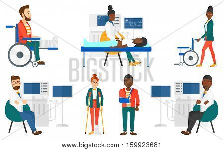 Ultrasound doctor sitting with arms crossed. Doctor sitting near modern ultrasound equipment. Doctor with ultrasonic equipment. Set of vector flat design illustrations isolated on white background.