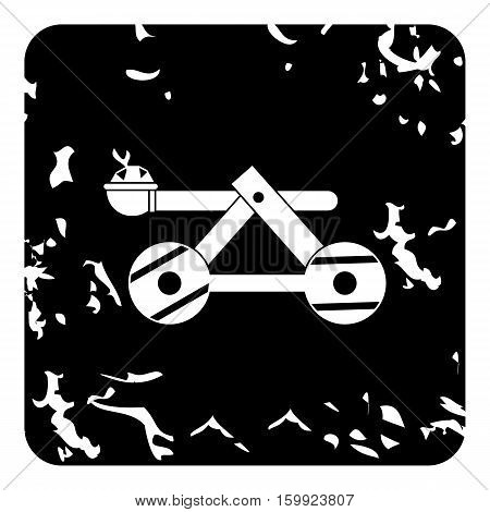 Medieval catapult icon. Grunge illustration of medieval catapult vector icon for web