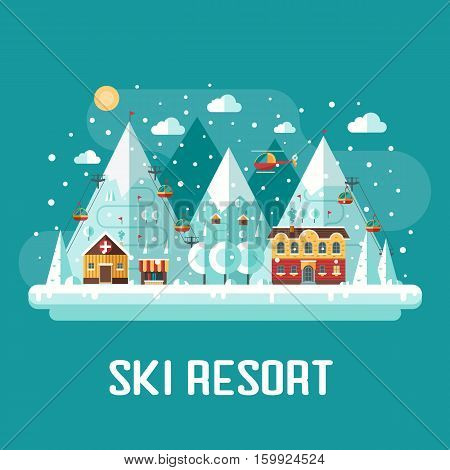 Mountain ski resort concept scene. Winter time landscape in flat design with funiculars, mountains, medicine tent, house and snow. Snow time concept background.
