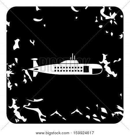 Submarine icon. Grunge illustration of submarine vector icon for web