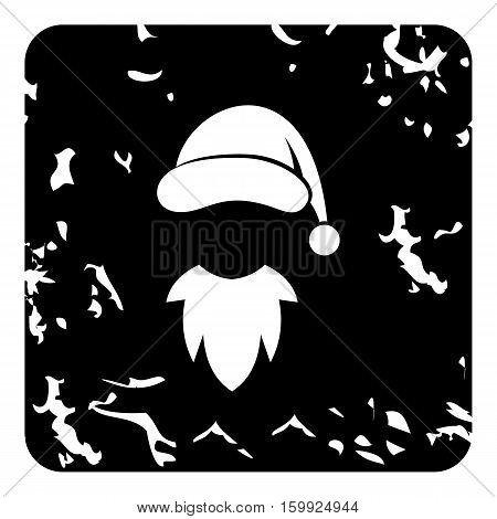 Hat with pompom and beard of Santa Claus icon. Grunge illustration of hat with pompom and beard of Santa Claus vector icon for web