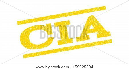 CIA watermark stamp. Text caption between parallel lines with grunge design style. Rubber seal stamp with scratched texture. Vector yellow color ink imprint on a white background.