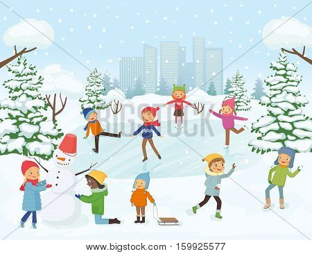 Cute children are skating making a snowman play snowballs on snow background city