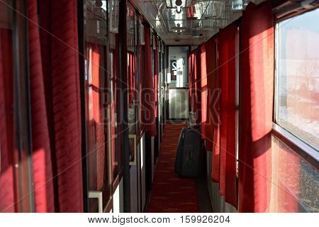 Passage in the sleeping car of polish long distance train.