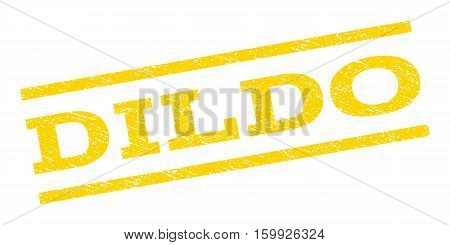 Dildo watermark stamp. Text tag between parallel lines with grunge design style. Rubber seal stamp with dirty texture. Vector yellow color ink imprint on a white background.