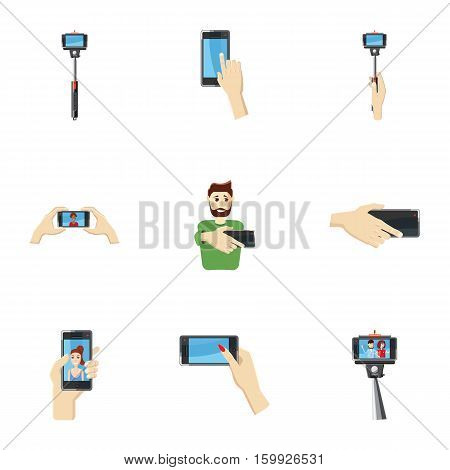 Photo on smartphone icons set. Cartoon illustration of 9 photo on smartphone vector icons for web