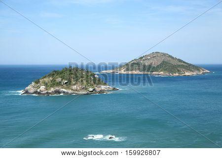 The view from Grumari Beach in the West Zone of Rio de Janeiro, Brazil