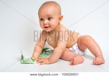 Cute Baby With Euro Bills Money - Isolated On White