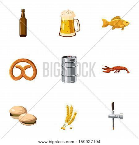 Beer fest icons set. Cartoon illustration of 9 beer fest vector icons for web