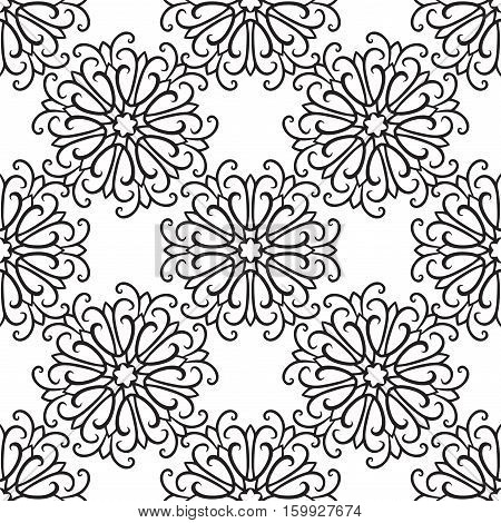 Vector monochrome seamless pattern with curly snowflakes on white background