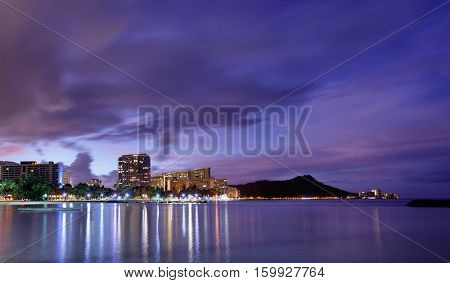 Beautiful view of Hawaii skyline at sunrise