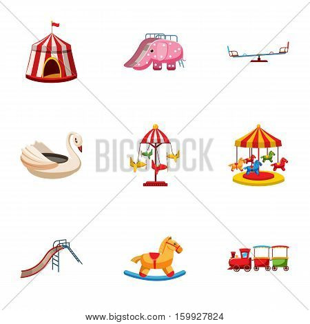 Swing icons set. Cartoon illustration of 9 swing vector icons for web