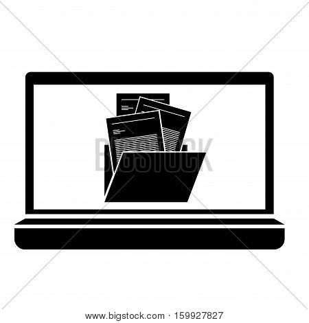 Piece of paper and file inside device icon. Document data archive office and information theme. Isolated design. Vector illustration