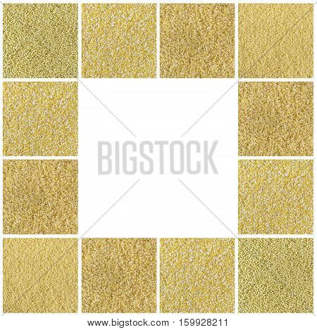 Collage consisting of bulgur millet cous cous polenta grains. Food background. Healthy lifestyle concept. Yellow pattern.