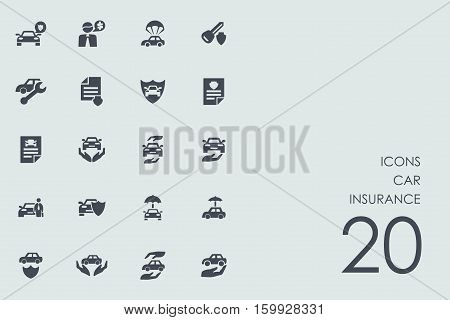 car insurance vector set of modern simple icons
