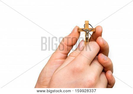 Woman Hands Holding Wooden Cross Isolated On White