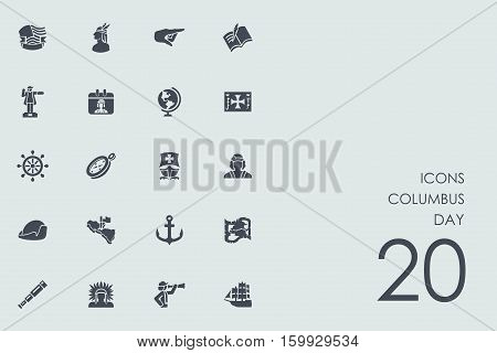 columbus day vector set of modern simple icons