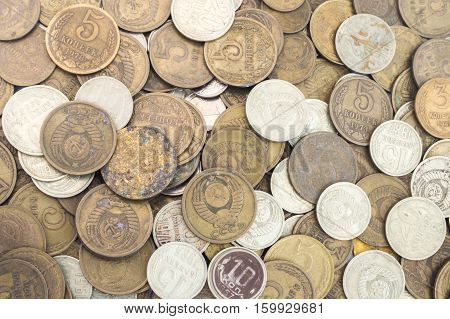 Silver and copper USSR coins. Old Soviet Union expired money background