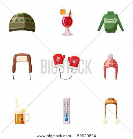 Warm clothes icons set. Cartoon illustration of 9 warm clothes vector icons for web