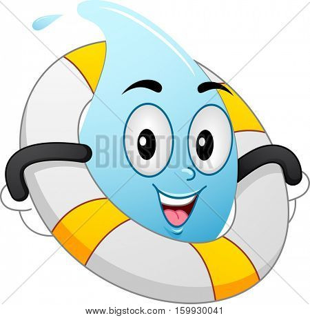 Mascot Illustration of a Water Droplet with a Lifebuoy Wrapped Around its Body