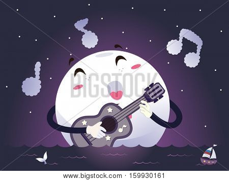 Romantic Illustration of a Moon Mascot Singing a Love Song as it Strums the Guitar