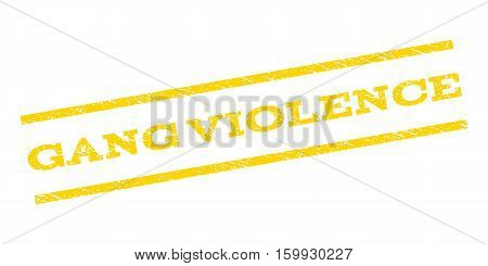 Gang Violence watermark stamp. Text tag between parallel lines with grunge design style. Rubber seal stamp with unclean texture. Vector yellow color ink imprint on a white background.