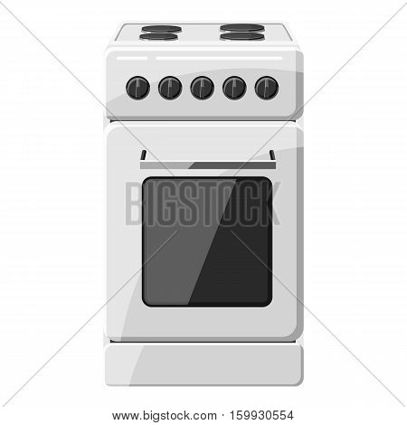 Stove for cooking icon. Gray monochrome illustration of stove for cooking vector icon for web