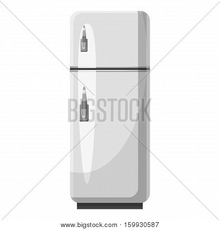 Refrigerator with separate freezer icon. Gray monochrome illustration of refrigerator with separate freezer vector icon for web