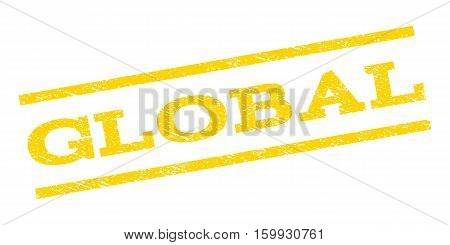 Global watermark stamp. Text caption between parallel lines with grunge design style. Rubber seal stamp with scratched texture. Vector yellow color ink imprint on a white background.