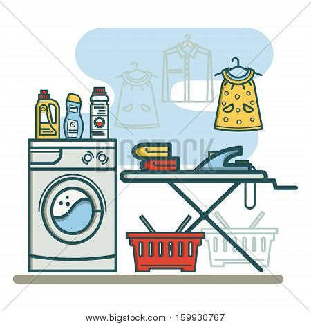 Laundry room with washing machine and ironing board, laundry detergent, laundry detergent, and a basket. Linear style vector illustration.