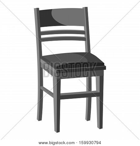 Wooden chair icon. Gray monochrome illustration of wooden chair vector icon for web